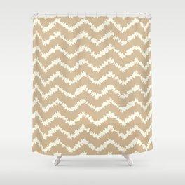 Ragged Chevron - Taupe/Cream Shower Curtain