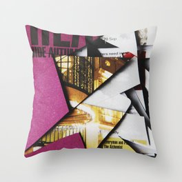Cat Flips Through Magazine Throw Pillow