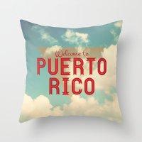 puerto rico Throw Pillows featuring Puerto Rico by Ákos Kőrös