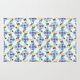 Spring Flower Rubber Stamp Pattern Design (Light Mint Green Background) Rug