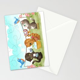 Three Kittens Washing Mittens Stationery Cards