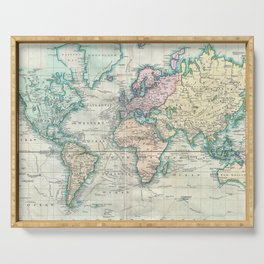 Vintage Map of The World (1801) Serving Tray