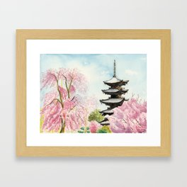 Japanese Temple Watercolor Painting print by Suisai Genki , To-ji, Kyoto , Sakura , Cherry blossom Framed Art Print