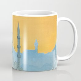Mid Century Modern Travel Vintage Poster Istanbul Turkey Grand Mosque Coffee Mug