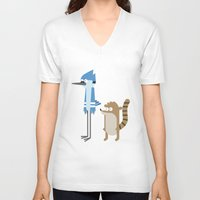 regular show V-neck T-shirts featuring Regular show by Oh Boy