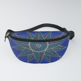Vintage Compass Windrose - Royal Blue Teal Mid Century Fanny Pack