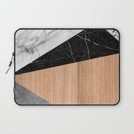 Marble, Garnite, Teak Wood Abstract Laptop Sleeve