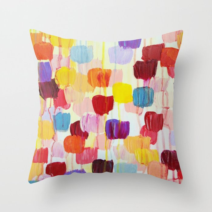DOTTY - Stunning Bright Bold Rainbow Colorful Square Polka Dots Lovely Original Abstract Painting Throw Pillow