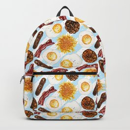 American Diner Breakfast on Blue Backpack