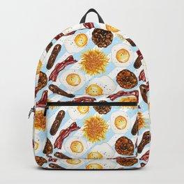American Diner Breakfast on Blue Backpack