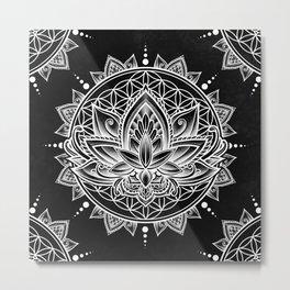 Lotus Mandala - Black Metal Print