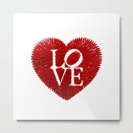 love: embroidery on paper print Metal Print