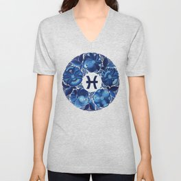 Pisces in Petrykivka style (without artist's signature/date) Unisex V-Neck