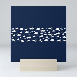 Fish Stripe 4 Minimalist Mid-Century Modern Fish School in White on Nautical Navy Blue Solid Mini Art Print