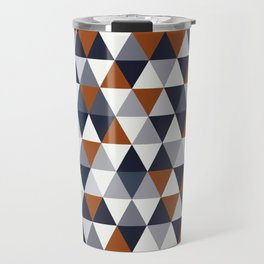 Navy Rust Small Triangles A Travel Mug