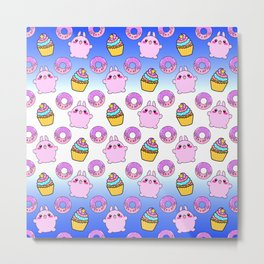 Cute funny Kawaii chibi little pink baby bunnies, happy sweet donuts and adorable colorful yummy cupcakes blue and white seamless pattern design. Metal Print