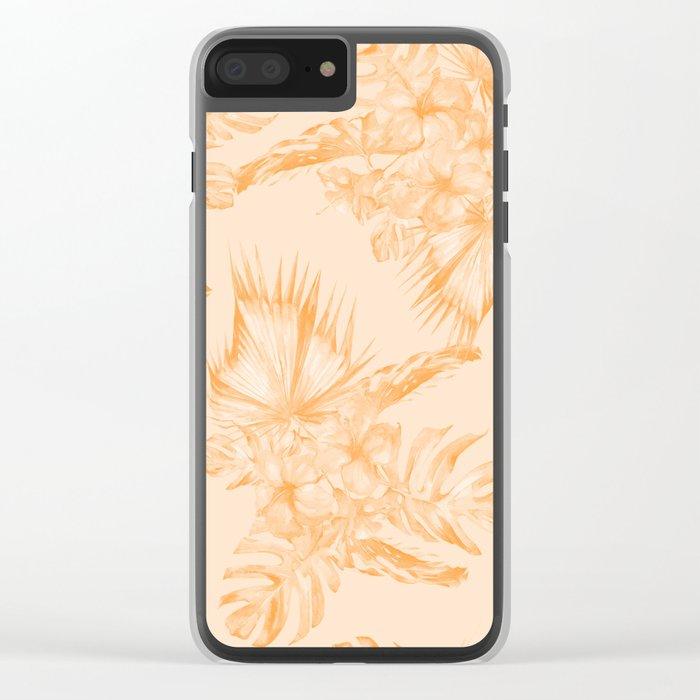 Island Vacation Hibiscus Coral Mango Orange Clear iPhone Case