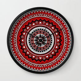 Red and Black Mandala Wall Clock