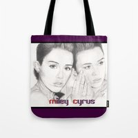 miley Tote Bags featuring miley vs. miley by als3