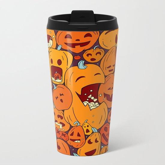 Halloween pumpkin pattern Metal Travel Mug