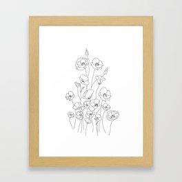 Poppy Flowers Line Art Gerahmter Kunstdruck