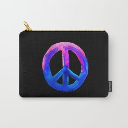 Pink Blue Watercolor Tie Dye Peace Sign Carry-All Pouch