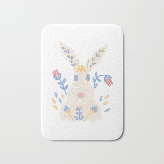 Floral Rabbit Bath Mat