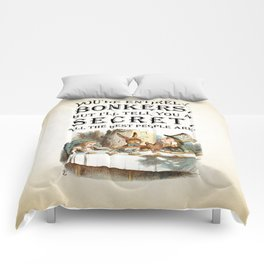 Alice In Wonderland -Colors- Tea Party - You're Entirely Bonkers - Quote Comforters