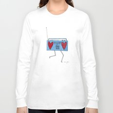 boombox with hearts Long Sleeve T-shirt