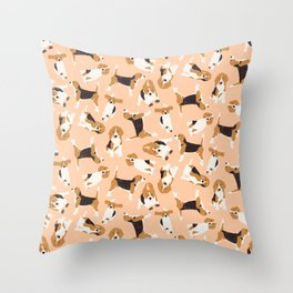 beagle scatter peach Throw Pillow