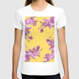 DECORATIVE YELLOW MODERN ART FLORAL T-shirt