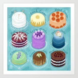 A Rainbow of Cakes Art Print