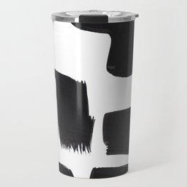 Black And White Minimalist Mid Century Abstract Ink Art Abnormal Organic Shapes Tribal Travel Mug