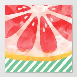 Red Grapefruit Abstract Canvas Print