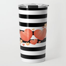 Black and White Stripes and Hearts 2 Travel Mug