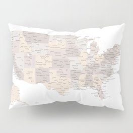 Brown USA map with states and cities Pillow Sham