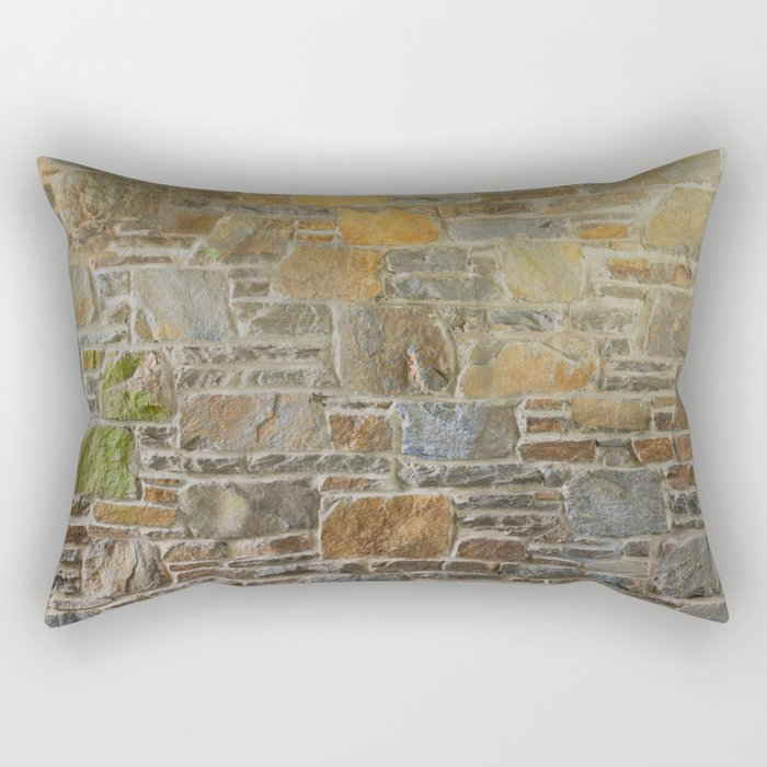Avondale Brown Stone Wall and Mortar Texture Photography Rectangular Pillow