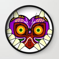 majoras mask Wall Clocks featuring Majoras Mask by fiono