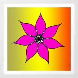 Pink flower Gradient Background Art Print