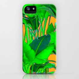 BRIGHT GREEN & GOLD TROPICAL FOLIAGE ART iPhone Case