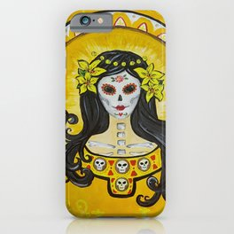 Yellow Lily art nouveau day of the dead sugar skull princess with lilies in her hair iPhone Case