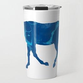 Dark Blue Marble Thoroughbred Horse Silhouette Travel Mug