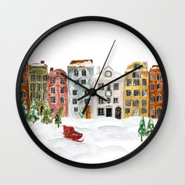 Christmas in the Village Wall Clock