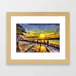 Sunset Fishing Istanbul Van Gogh Framed Art Print