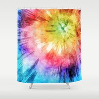 tie dye Shower Curtains featuring Tie Dye Watercolor by Phil Perkins