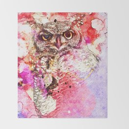 Watercolor Owl, Vintage Owl, Mixed Media Owl, Animal Owl, Bird Owl, Best Owl,Owl Print, Owl Painting Throw Blanket
