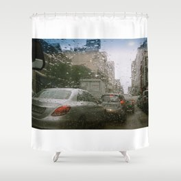 Cape Town traffic on a rainy day Shower Curtain