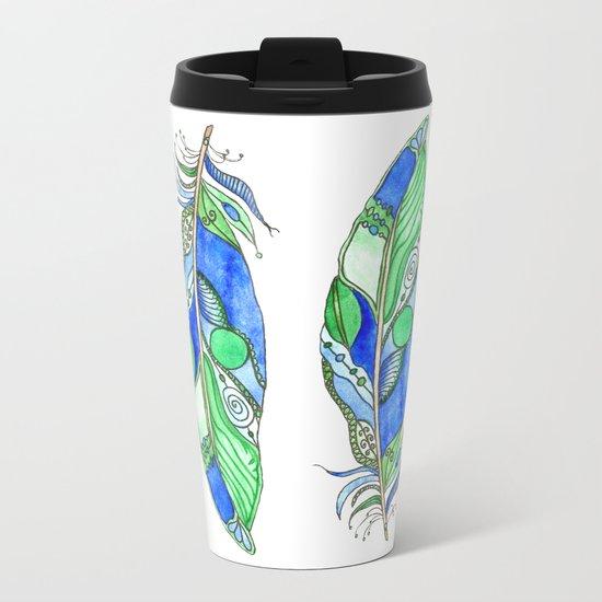 Bohemian Spirit Feathers - Blue & Green Metal Travel Mug