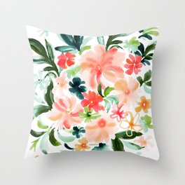 SMELLS LIKE OAHU Floral Throw Pillow