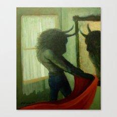 Bull And Mirror Canvas Print
